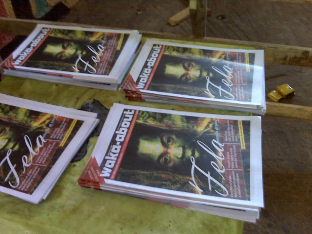 waka-about (Oct. 2011 edition) on sale inside the New Afrika Shrine during Felabration of same year