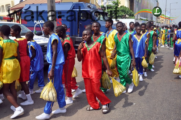 younsters marching into the Teslim Balogun stadium for the Calistenics aspect of the Eko 2012 Games