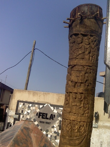 The world's tallest drum (Fela's tomb in the background)