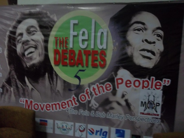 Backdrop for FELA DEBATES (2013), the year the late musician would have turned 75