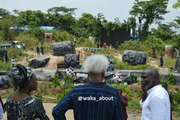 "Celebrant and Nobel Laureate Prof Wole Soyinka inspects the set of ""Dance of the Forests"""