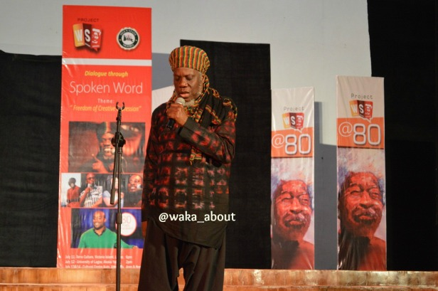 Jamaican born Mutabaruka performing in Abeokuta for WS80