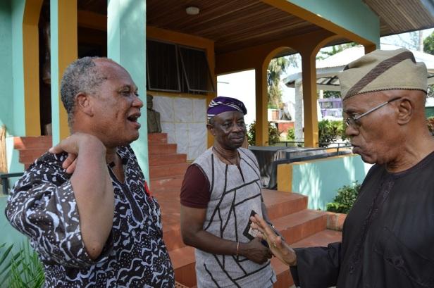 L-R: Kunle David Ogunde, Tunde Kelani and Richard Ayo Ogunde in Ogunde's Ososa home