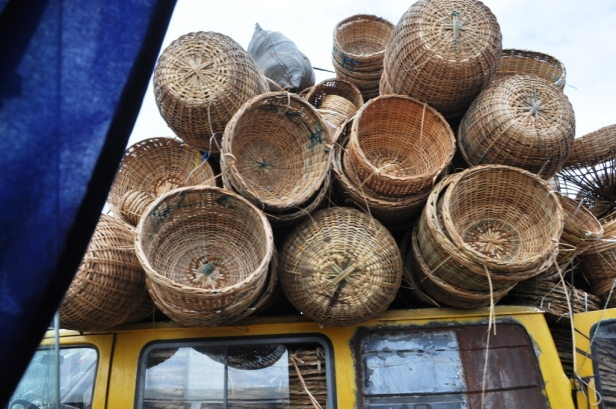 Badagry is fringed by coconut palm trees, which the locals utilise to weave all sorts of arts, crafts and tourist souvenirs. These baskets, woven locally from palm fronds are used by the farmers and traders to pack and transport produce and purchases.