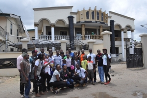 Tourists visiting the elegant palace of the Akran of Badagry, one of Nigeria's first-class kings