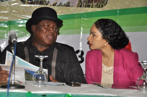 Minister of Tourism, Culture and National Orientation, High Chief Edem Duke and Executive Director, Nigeria Tourism Development Corporation (NTDC), Ms. Sally Mbanefo