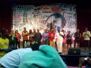 "Cast and Crew of ""Fela: The Son of Kuti"" on the stage of the National Theatre, Iganmu, Lagos"