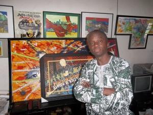 Lemi Ghariokwu in his studio in Lagos