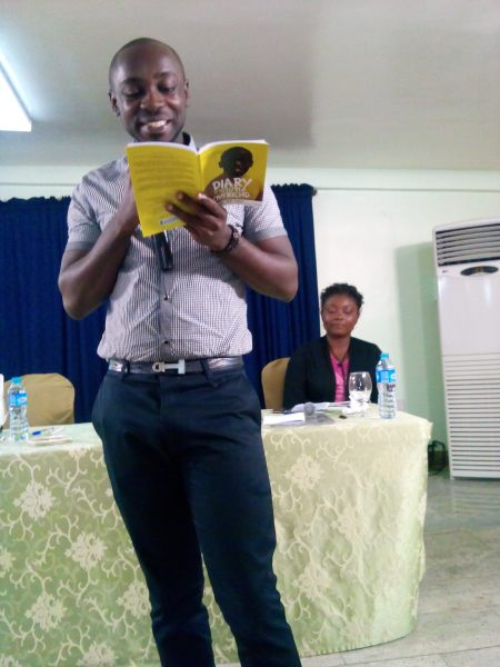 Bura-Bari Nwilo reading from 'Diary of Stupid Boyfried'