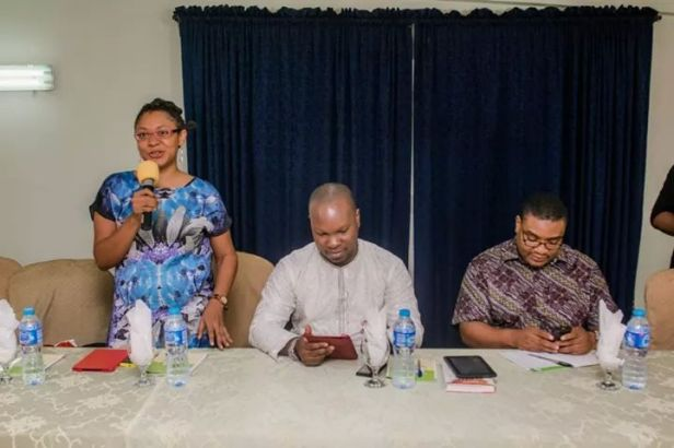 """The first Panel of discussants at """"The Business of Writing'--Isabella Akinseye, Cheta Nwanze, Debola Omololu (photo by New Lagos Book Club)"""