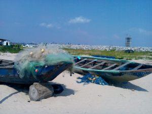 Fishermen's boats on Tarkwa Bay Beach.