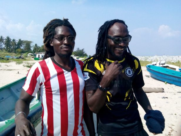 TJ (L) and Colombia (R) at tarkwa Bay beach