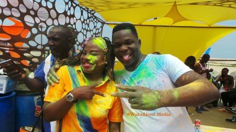 A couple having colourful fun....