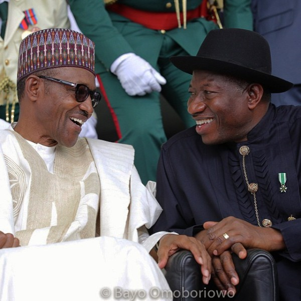 L-R: presidents Buhari and Jonathan, just before the handing-over ceremonies (Photo courtesy of Bayo Omoboriowo)