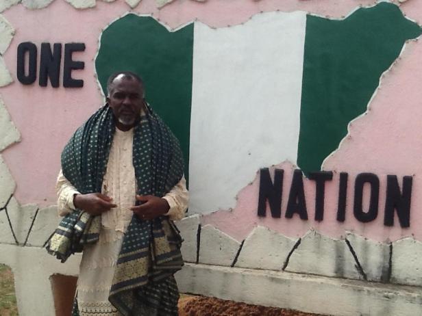 World Wrapperman at the Unity Fountain, Abuja