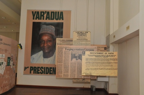 Enlarged posters and newspaper pages for the YarAdua presidential campaign